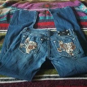 Texas cow hide Miss Me jeans
